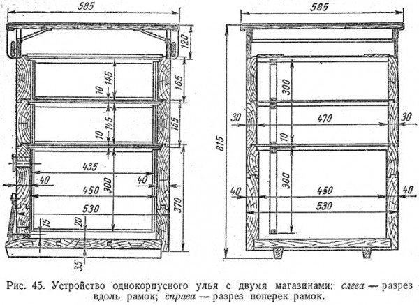 Размеры улья Дадана-Блатта