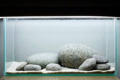 Добавляю камни в аквариум